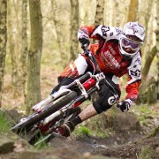 Steve Peat cornering outside foot down!